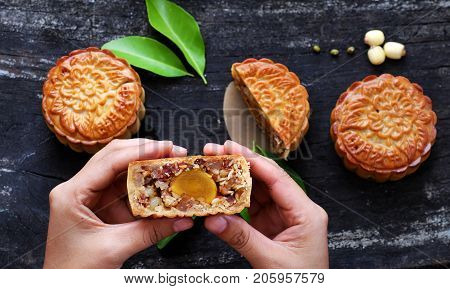 Woman Hand Take Moon Cake