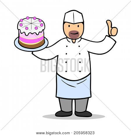 Confectioner with thumbs up holding cake