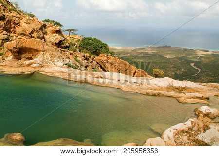 The Mountain Lake Of Homhil On The Island Of Socotra