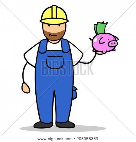 Cartoon of blue collar worker with piggy bank as investment concept