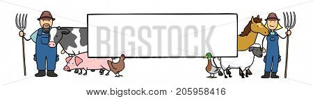 Farmer and livestock with big blank sign