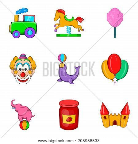 Entertainment for youngest icons set. Cartoon set of 9 entertainment for youngest vector icons for web isolated on white background