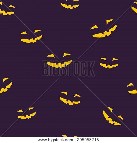 Seamless Pattern of Grinning Scary Halloween Face, Face for Jack-o-Lantern, Vector Illustration