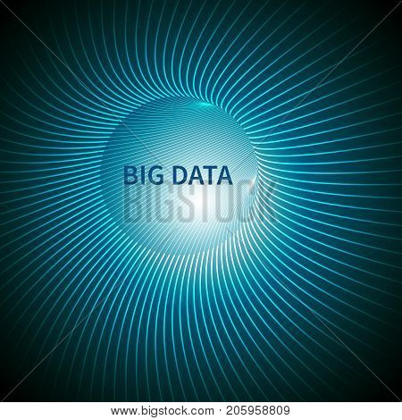 Big Data abstract background based on a futuristic tunnel of curved lines. Creative Design Templates