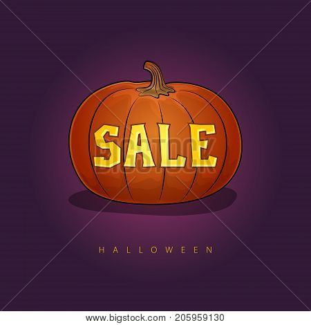 Pumpkin with a Halloween Sale, Banner with Discounts for the Holiday, Vector Illustration