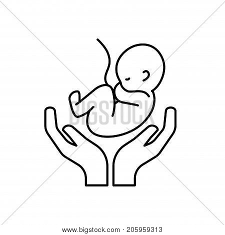 line baby umbilical cord and new life vector illustration