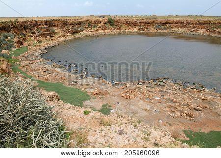 Salt mining on the island of Socotra in Yemen