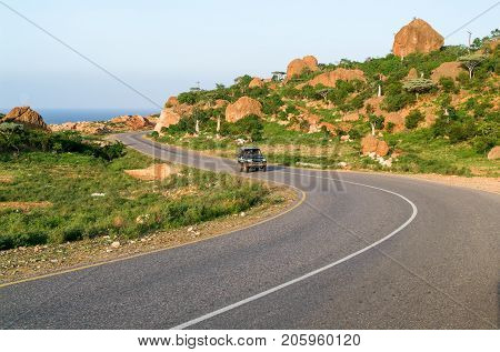 Road in the mountains at the center of Socotra island Yemen