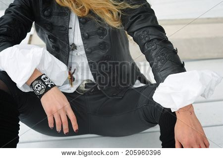 Fashion young woman outfit, baroque and vamp style