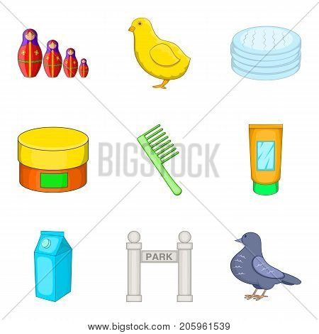Feeding in park icons set. Cartoon set of 9 feeding in park vector icons for web isolated on white background
