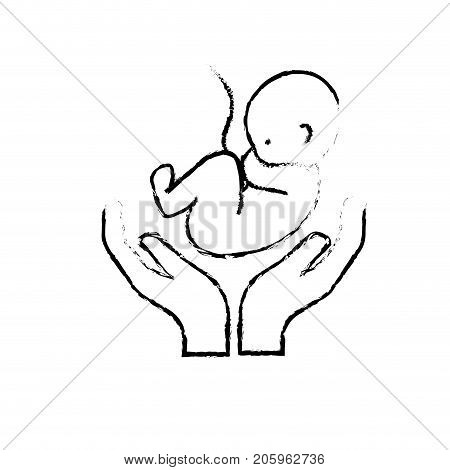 figure baby umbilical cord and new life vector illustration