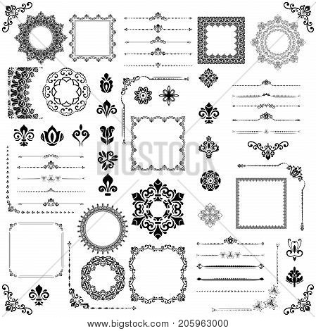 Vintage set of vector horizontal, square and round elements. Different elements for decoration design, frames, cards, menus, backgrounds and monograms. Black and white patterns. Set of vintage patterns