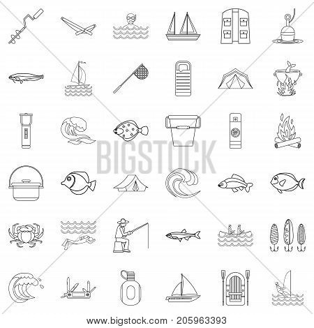 Compass icons set. Outline style of 36 compass vector icons for web isolated on white background