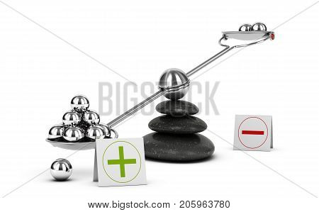 Seesaw containing metal spheres inclined on the positive side. Concept of Pros and cons analysis over white background. 3D illustration