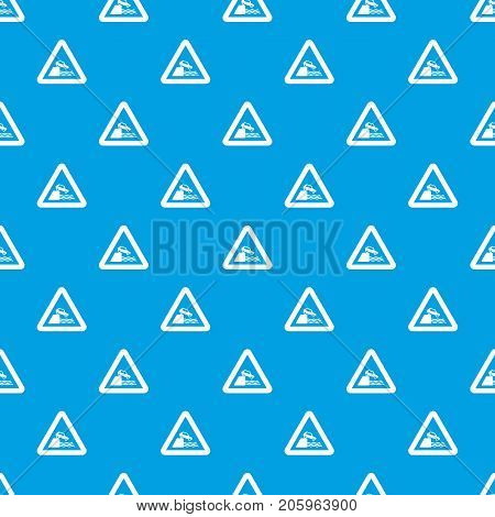 Riverbank traffic sign pattern repeat seamless in blue color for any design. Vector geometric illustration