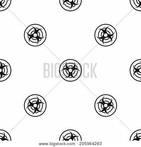 Sign of biological threat pattern repeat seamless in black color for any design. Vector geometric illustration