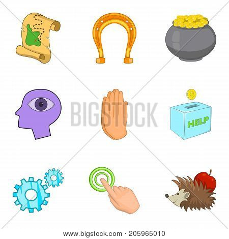 Benefaction icons set. Cartoon set of 9 benefaction vector icons for web isolated on white background