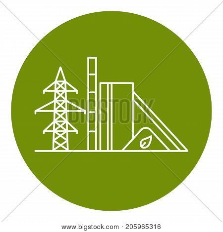 Biomass recycling plant icon in thin line style. Renewable energy power station symbol in round frame. Alternative energy concept.