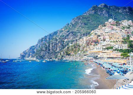 Sea and beach of Positano - famous old italian resort, Italy , retro toned