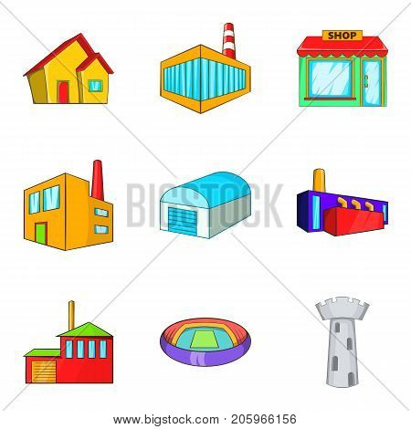 Glass building icons set. Cartoon set of 9 glass building vector icons for web isolated on white background