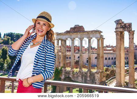 Traveller Woman Near Roman Forum Speaking On Cell Phone