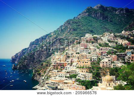 view of Positano - old italian resort, Italy, retro toned