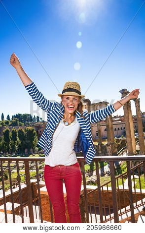 Traveller Woman In Front Of Roman Forum Rejoicing