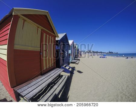 Brighton Beach, Melbourne, Australia: January 15, 2015: Brighton Beach Huts in Melbourne. The Brighton Beach Huts are one of the most iconic tourist attractions in Melbourne for tourists every year.