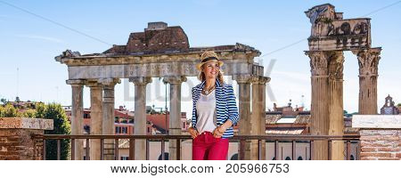 Traveller Woman Against Roman Forum Looking Into Distance
