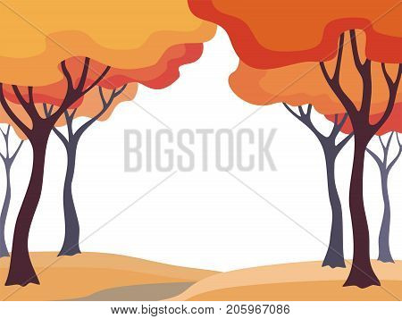 Abstract image of the autumn trees. Beautiful landscape. Vector background for design presentations, brochures, web sites and banners.