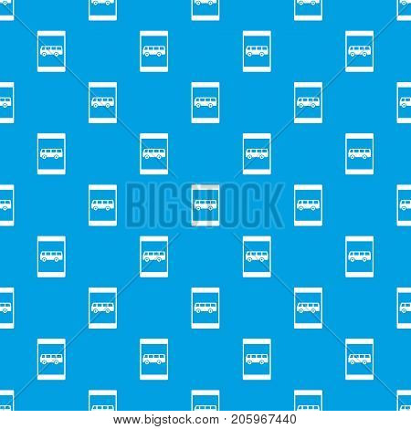 Bus stop sign pattern repeat seamless in blue color for any design. Vector geometric illustration