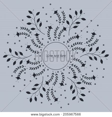 Stylish cover with stylish flowers and leaves can be used for invitations, posters or greeting cards.