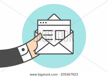 Icon of new open mail envelope. White mail envelope and letter or icon file. Hand of busnessman holds email icon or message. Icon of open mail envelope isolated on a blue circle. Vector Illustration