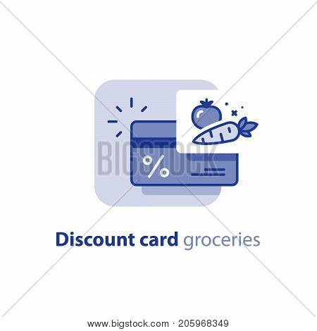 Grocery store loyalty program, discount card, fresh vegetables, earn reward points, cash back, bonus coupon, vector line icon
