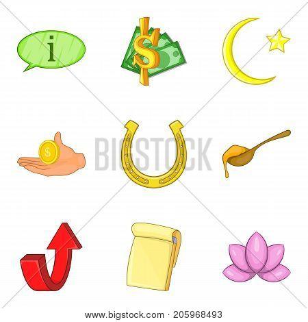 Plenty icons set. Cartoon set of 9 plenty vector icons for web isolated on white background