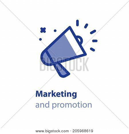 Marketing and advertising concept, megaphone line icon, public relations vector illustration