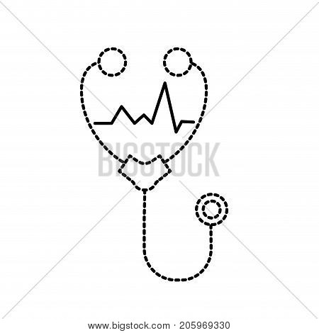 dotted shape stethoscope medical tool for cardiologist sign vector illustration