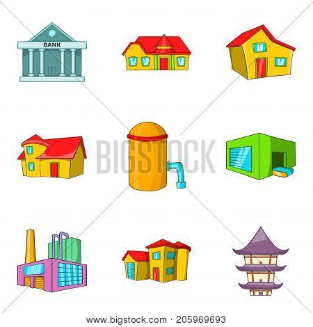 Hall icons set. Cartoon set of 9 hall vector icons for web isolated on white background