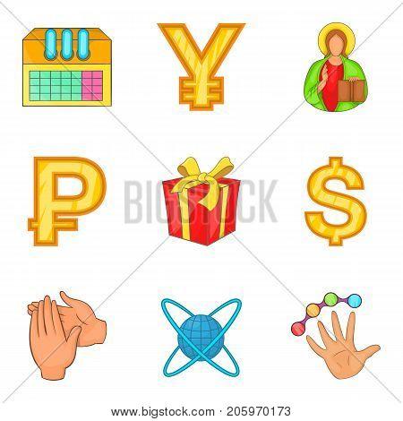 Abundance icons set. Cartoon set of 9 abundance vector icons for web isolated on white background