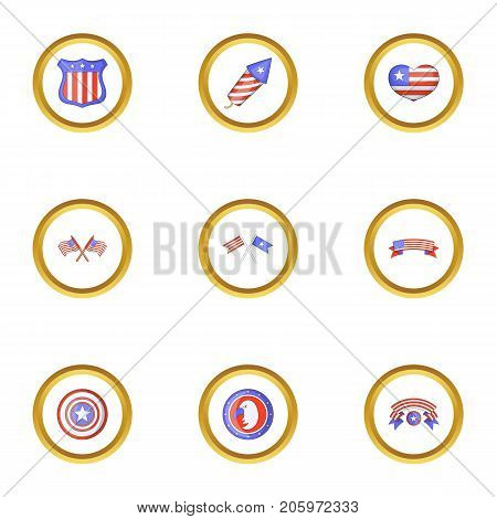 Independence day icons set. Cartoon style set of 9 independence day vector icons for web design