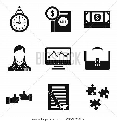 Finance company icons set. Simple set of 9 finance company vector icons for web isolated on white background