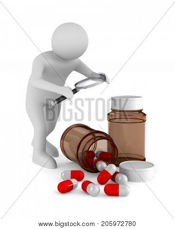 Man with magnifier and medicament on white background. Isolated 3D illustration