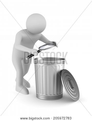 Man with magnifier and garbage basket on white background. Isolated 3D illustration