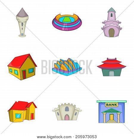 Mansion house icons set. Cartoon set of 9 mansion house vector icons for web isolated on white background