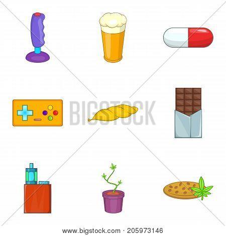 Harmful icons set. Cartoon set of 9 harmful vector icons for web isolated on white background
