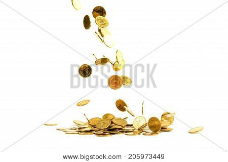 Falling Gold Coins Money Isolated On The White Background, Business Concept.
