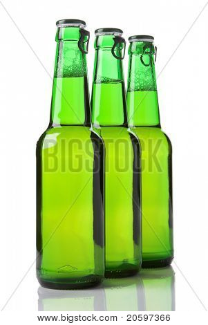 Bottles of beer against a white background