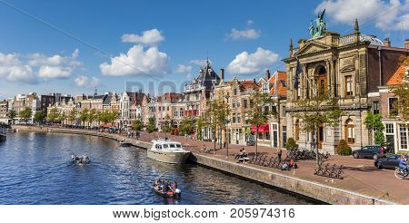 HAARLEM, NETHERLANDS - SEPTEMBER 03, 2017: Panorama of the Spaarne canal in the center of Haarlem Netherlands
