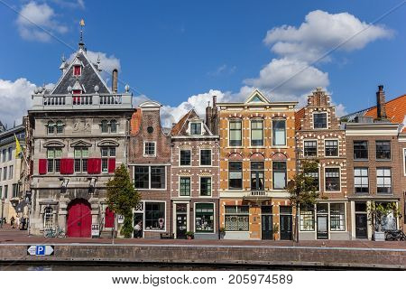 HAARLEM, NETHERLANDS - SEPTEMBER 03, 2017: Historic facades at the Spaarne canal in Haarlem Netherlands