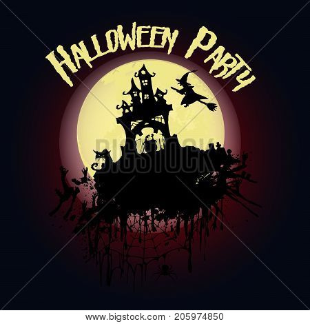 Halloween Party. Castle, A Witch On A Broomstick, Creepy Trees And A Full Moon. Halloween Poster. Ve